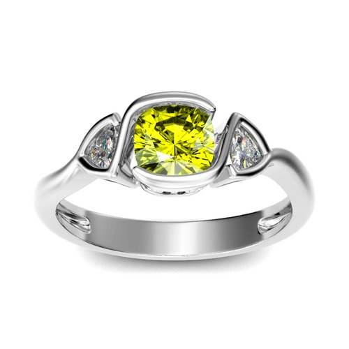 Jeulia Three Stone Cushion Cut Sterling Silver Ring
