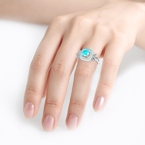 Jeulia Double Halo Round Cut Sterling Silver Ring