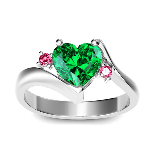 Bypass Three Stone Heart Cut Sterling Silver Ring