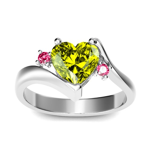 Jeulia Bypass Three Stone Heart Cut Sterling Silver Ring