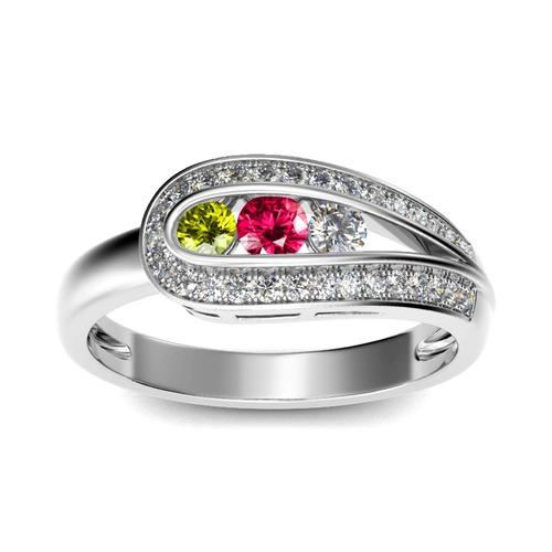 Asymmetric Three Stone Sterling Silver Ring