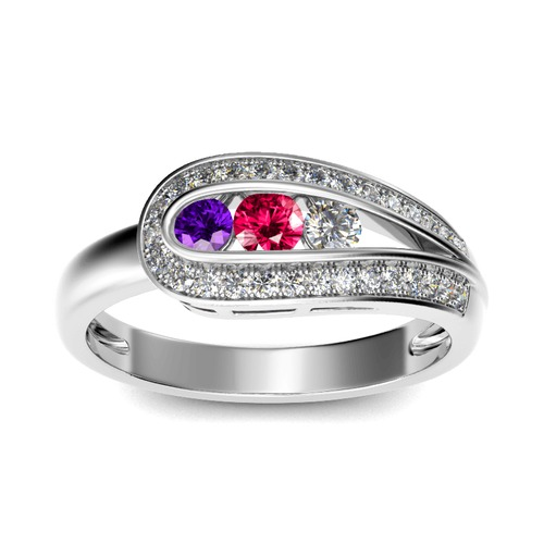 Jeulia Asymmetric Three Stone Sterling Silver Ring