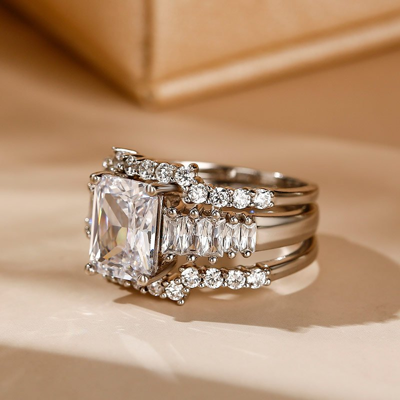 3PC Radiant Cut Sterling Silver Ring Set Jeulia Jewelry
