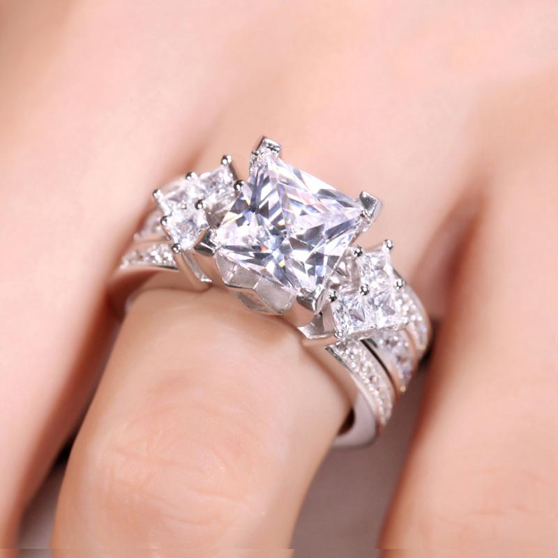 ... Unique Princess Cut Sterling Silver Interchangeable Ring Set ...