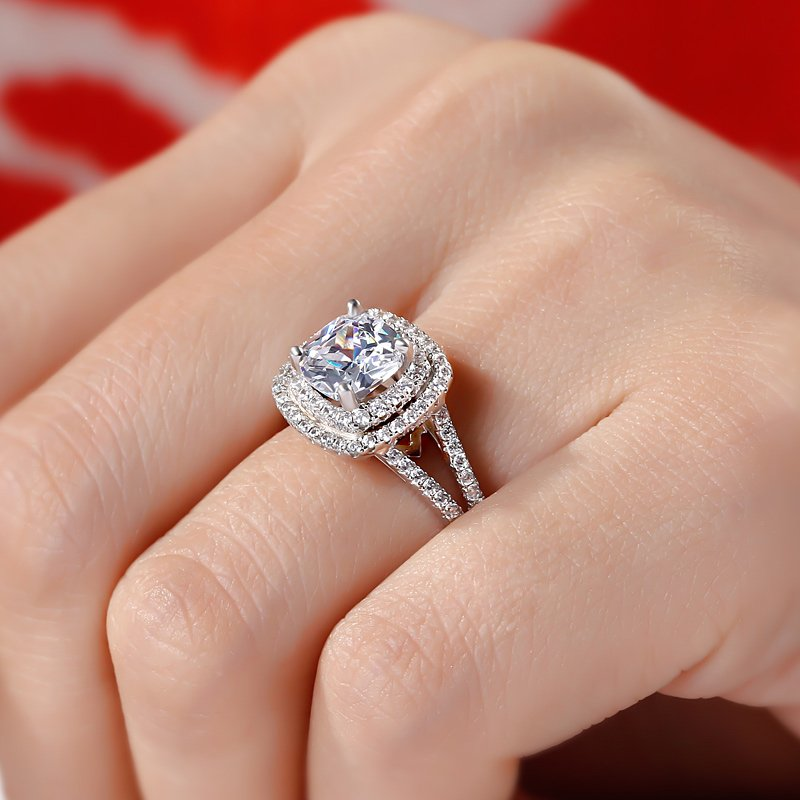cut white rings cushion gabriel diamond engagement pave triple gold ring halo