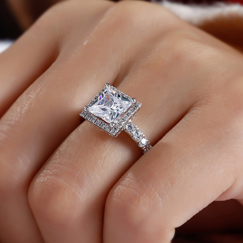 2d8d8d720be7f Princess Cut Halo Engagement Rings On Finger