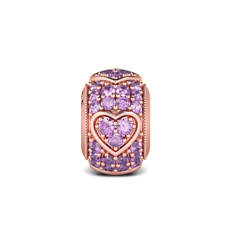 Buy Rose Gold Amethyst Heart Charm Sterling Silver, AJCS22 for $39.00 in Jeulia store
