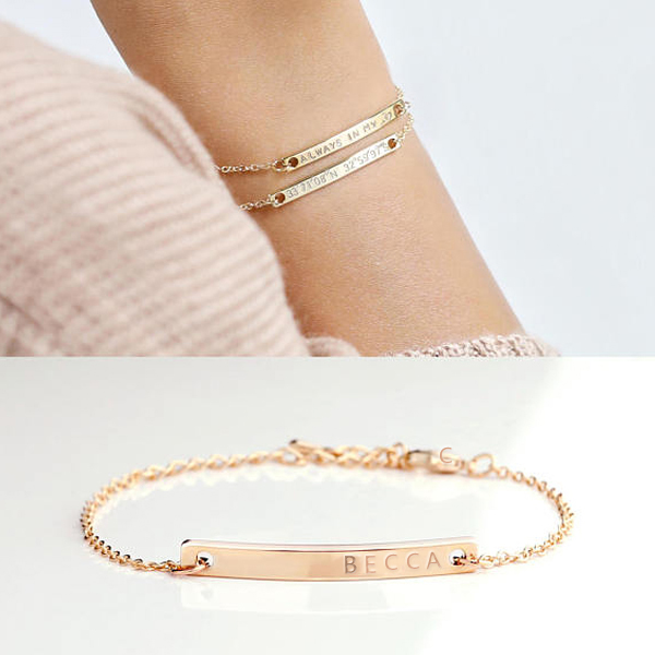 Buy Rose Gold Tone Engraved Bracelet Sterling Silver, JEPB0018 for $45.00 in Jeulia store