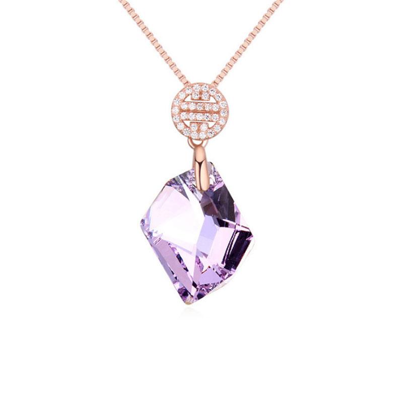 Buy Rose Gold Tone Irregular Shape Pendant Necklace, JENF0012 for $77.00 in Jeulia store