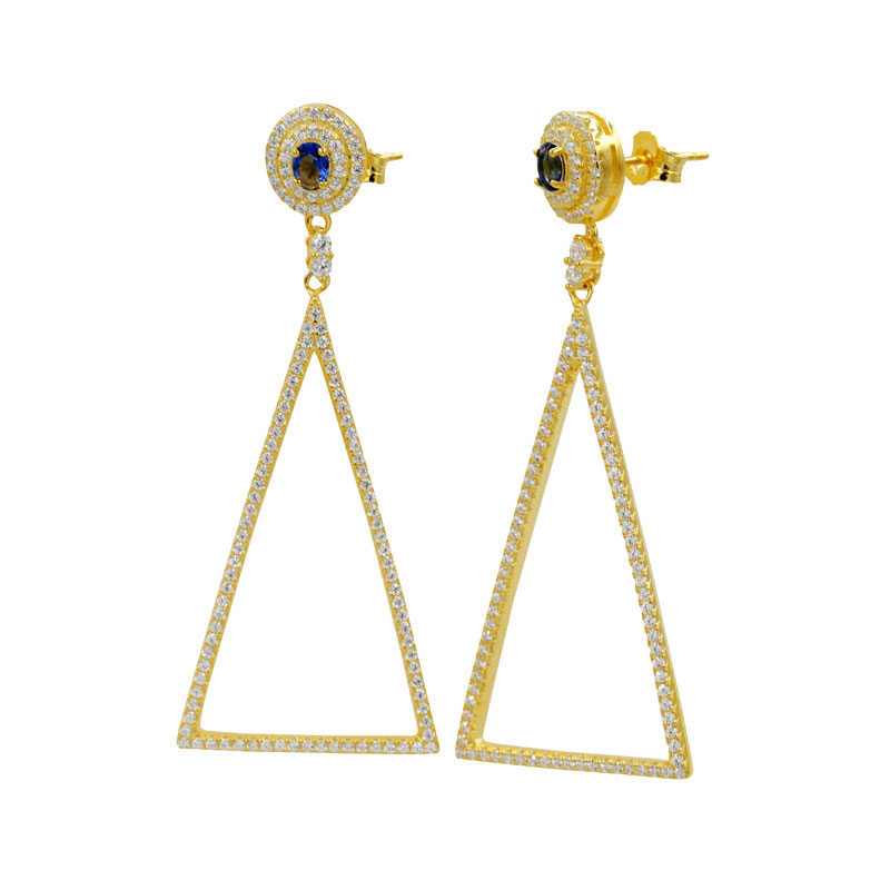 Buy Gold Tone Triangle Earrings Drops, JEED0022 for $75.00 in Jeulia store