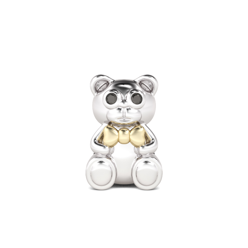 Gold Bow-tie Bear Charm Sterling Silver, AJCS06