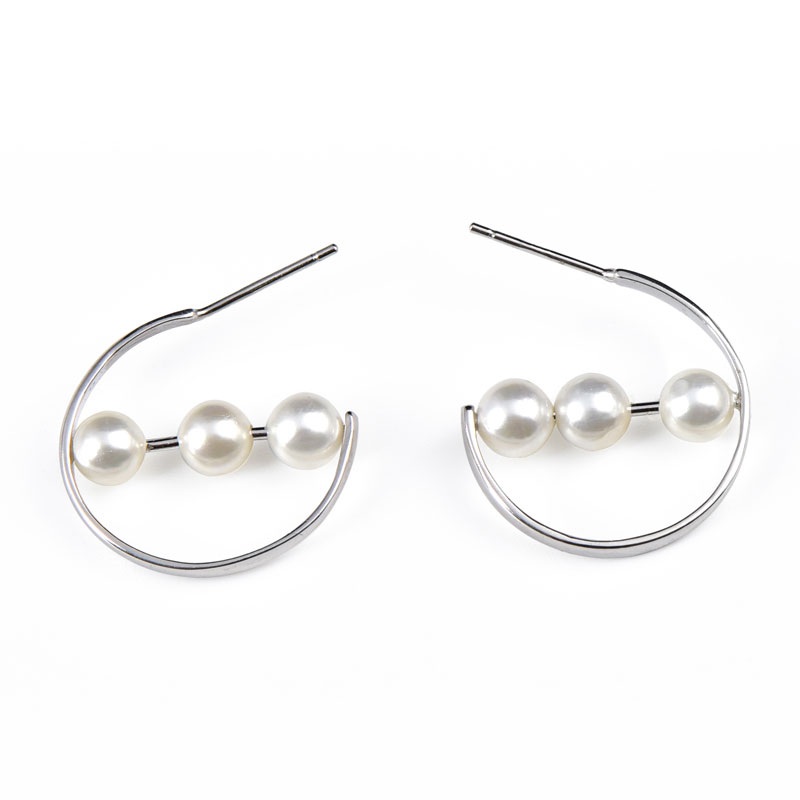 Buy Cultured Pearl Sterling Silver Hoop Earrings, JEEH0004 for $45.00 in Jeulia store