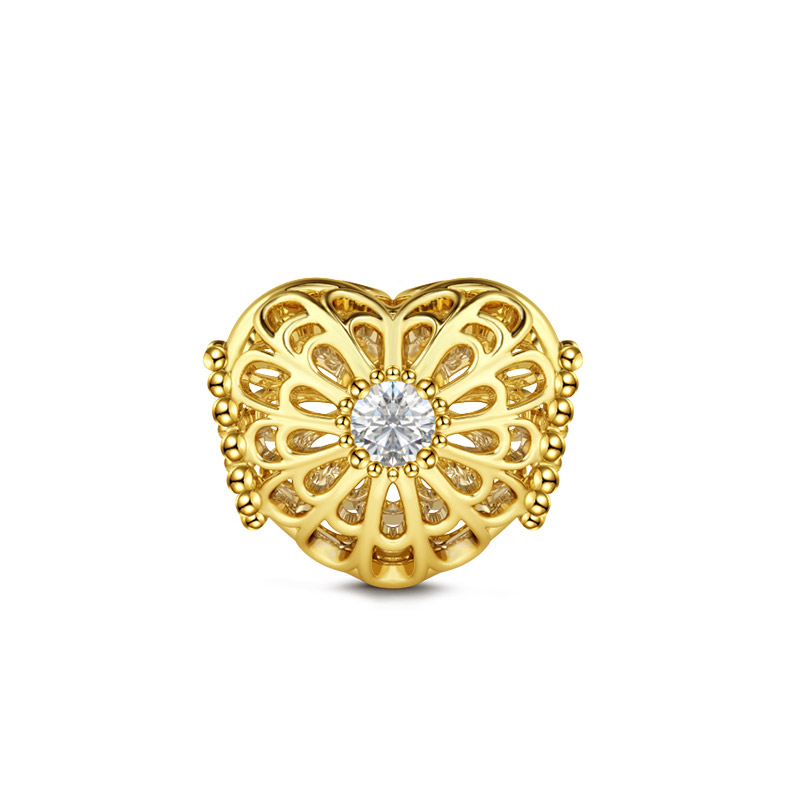 Buy Blooming Flower Hollow Charm Sterling Silver, BOCT97 for $537.43 in Jeulia store