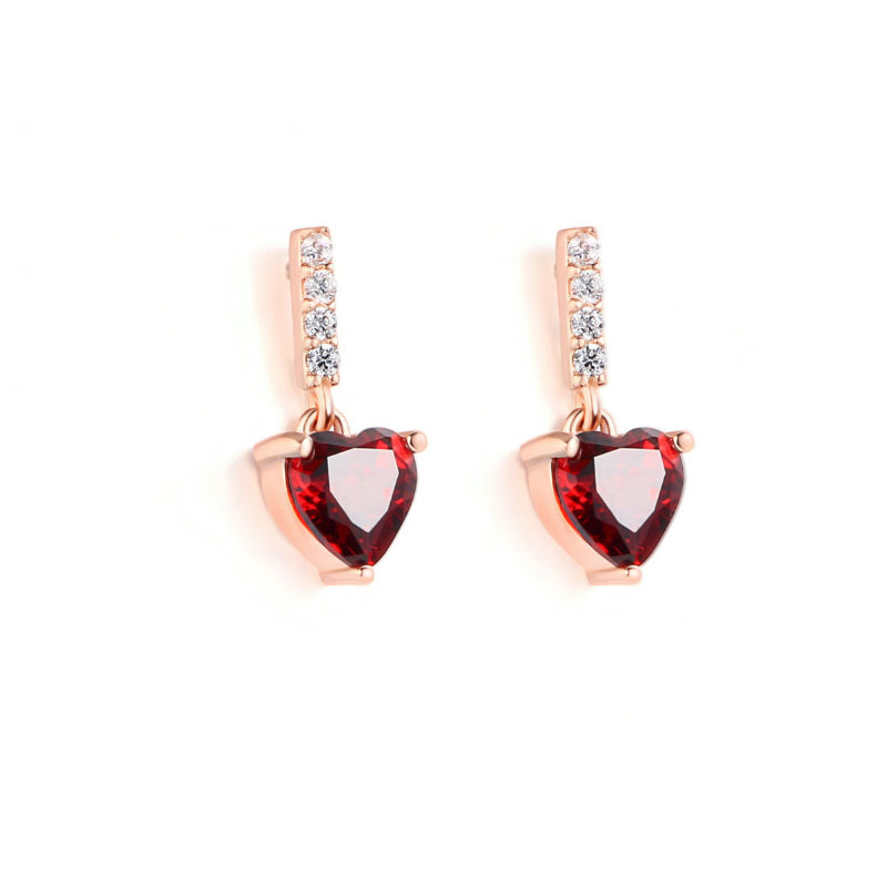 Rose Gold Tone Heart Sterling Silver Earring Drops, JEED0004