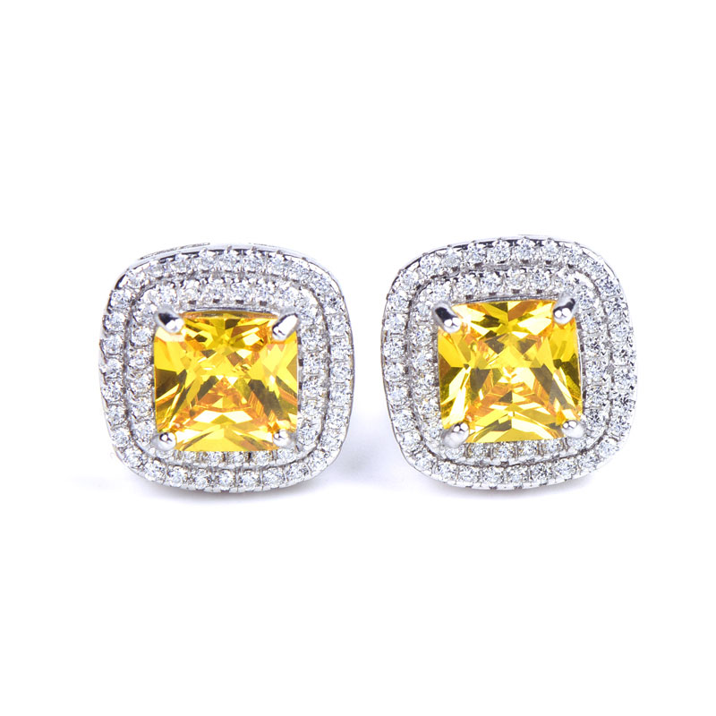 Buy Classic Halo Sterling Silver Stud Earrings, JEES0006 for $55.00 in Jeulia store