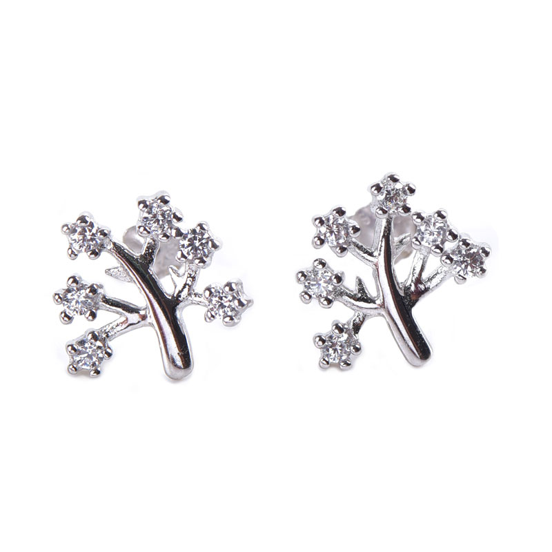Tree Design Sterling Silver Stud Earrings, JEES0011