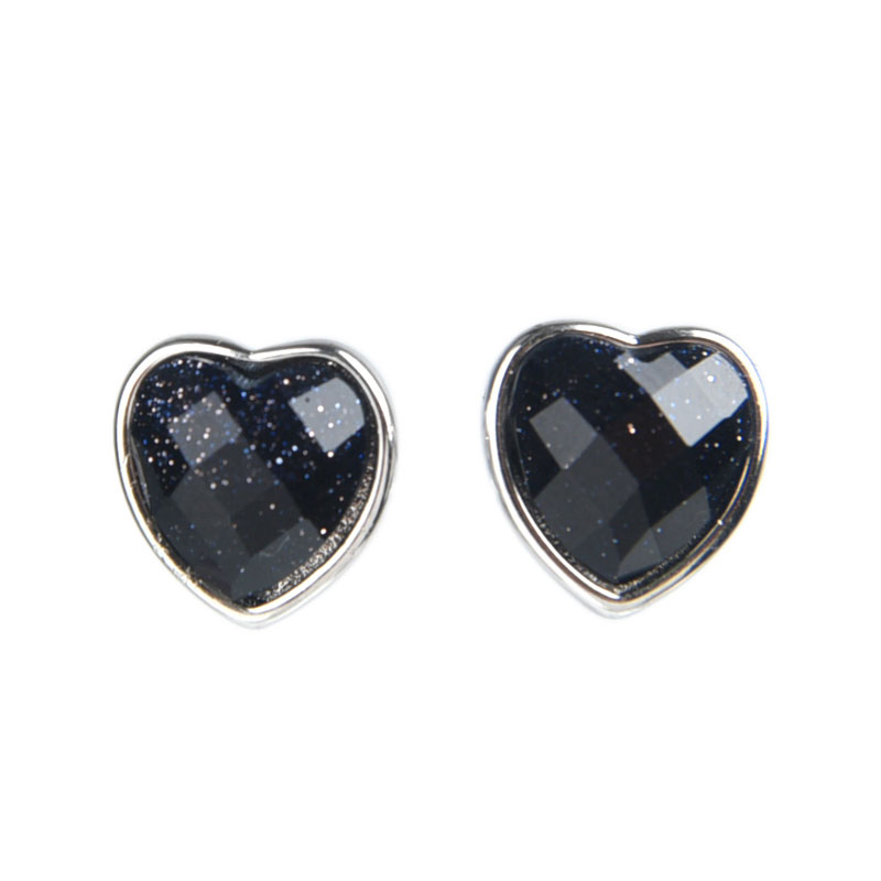 Heart Shape Sterling Silver Stud Earrings, JEES0009