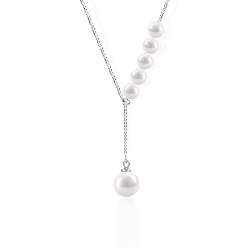 Buy Asymmetric Created Pearl Necklace, JENF0013 for $57.00 in Jeulia store