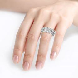 Classic Oval and Round Cut Sterling Silver Eternity Ring