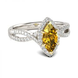 Halo Marquise Cut Sterling Silver Ring