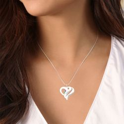 Two Heart Family Necklace with Birthstones Sterling Silver