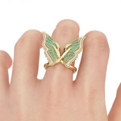 Jeulia  Butterfly Sterling Silver Cocktail Ring