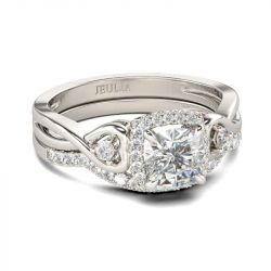 Halo Cushion Cut Sterling Silver Ring Set
