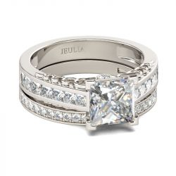 Simple Princess Cut Sterling Silver Ring Set