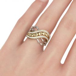 Jeulia  Two Tone Crossover Sterling Silver Skull Ring