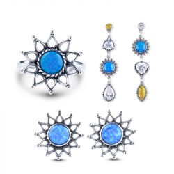 Sunflower Opal Sterling Silver Jewelry Set