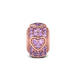 Rose Gold Amethyst Heart Charm Sterling Silver