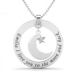 Moon and Star Engraved Necklace Sterling Silver