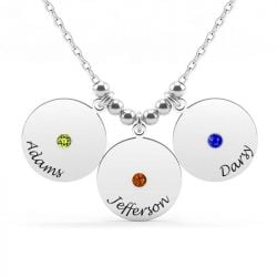Engraved Discs Family Necklace With Birthstones Sterling Silver
