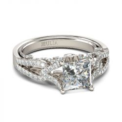 Princess Cut Twist Sterling Silver Ring