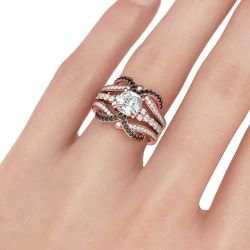 Rose Gold Tone Cushion Cut Sterling Silver Ring Set