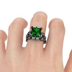 Black Tone Princess Cut Created Emerald  Four Skull Ring