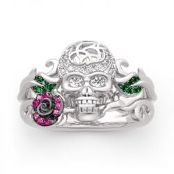 """Forever Romance"" Skull and Rose Sterling Silver Ring"