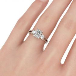 Three Stone Split Shank Emerald Cut Sterling Silver Ring