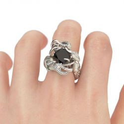 Black Cushion Cut Sterling Silver Mermaid Ring