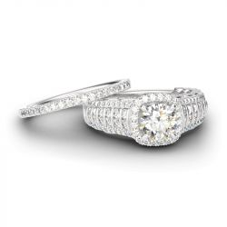 Sparkling Halo Round Cut Sterling Silver Ring Set