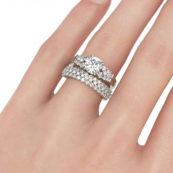 Starry Round Cut Sterling Silver Ring Set
