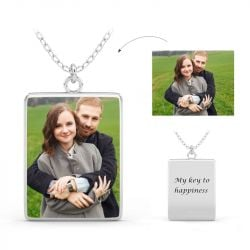 Engraved Personalized Photo Necklace Sterling Silver