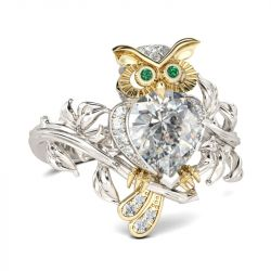 Two Tone Pear Cut Sterling Silver Owl Ring