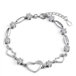 Heart Shape Sterling Silver Bracelet