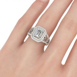 Double Halo Emerald Cut Sterling Silver Ring