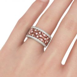 Two Tone Milgrain Round Cut Sterling Silver Women's Band