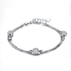 Silver Lucky Bead Women's Bracelet