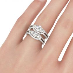 Three Stone Halo Round Cut Sterling Silver Ring Set