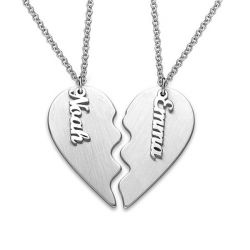 Engraved Couple Heart Necklace Sterling Silver