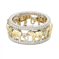Two Tone Round Cut Sterling Silver Elephant Band